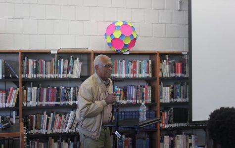 Pictured: Hollis Watkins speaking in the CRLS library.