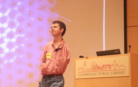 Dr. Eric Cornell spoke at the Cambridge Public Library.