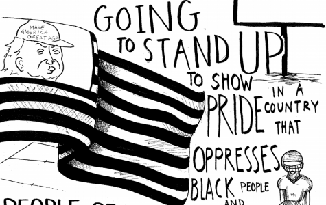 Pictured: An illustration of Colin Kaepernick's statement about kneeling.