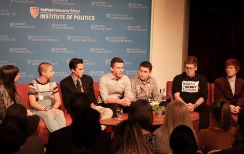 Pictured (left to right): Moderator Meighan Stone, Emma Gonzalez (MSD '18), David Hogg (MSD '18), Cameron Kasky (MSD '19), Alex Wind (MSD '19), Matt Deitsch (MSD '16), and Ryan Deitsch (MSD '18)