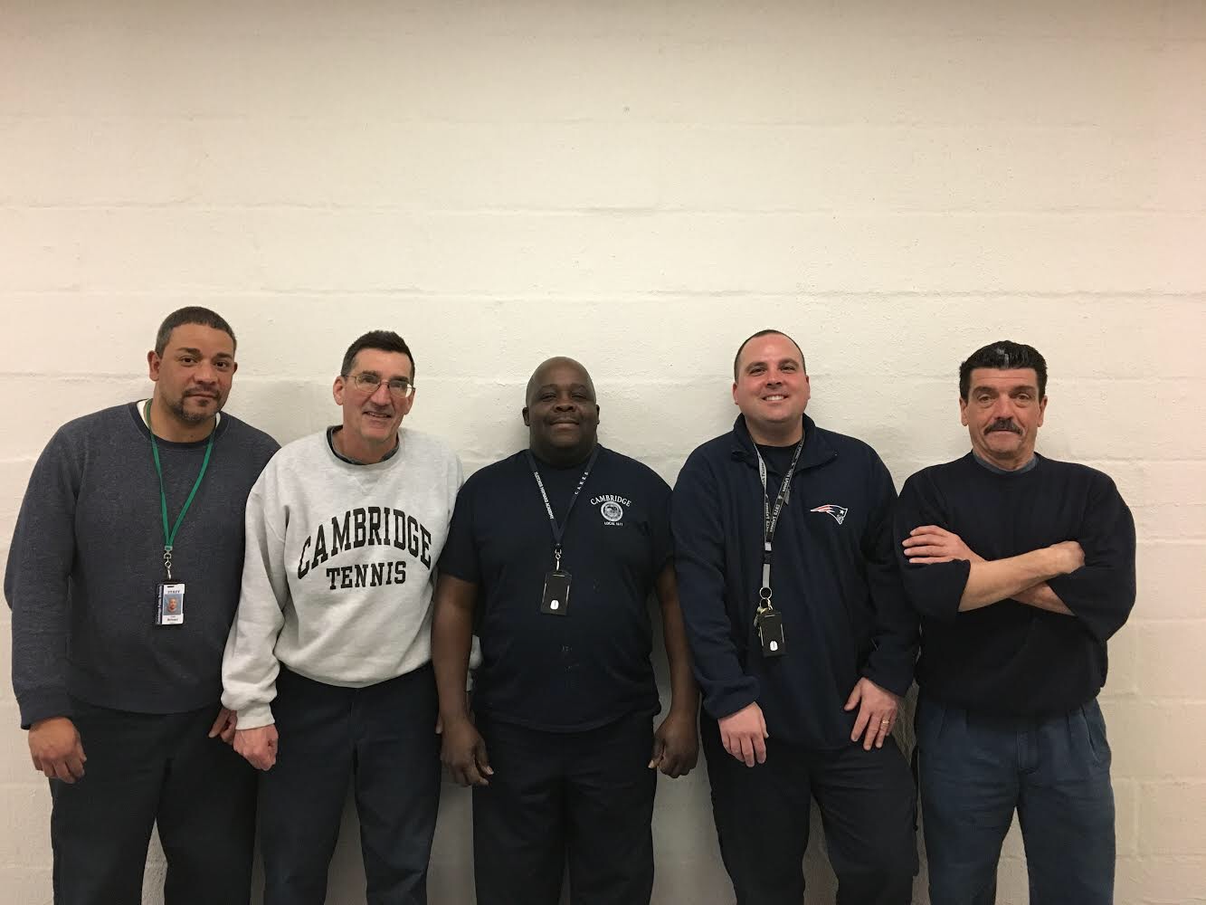 Jose Brioso (left), Dave Nadeau, Claude Lathan, Robbie Cataldo, and Richie Corcione are part of the daytime custodial staff.
