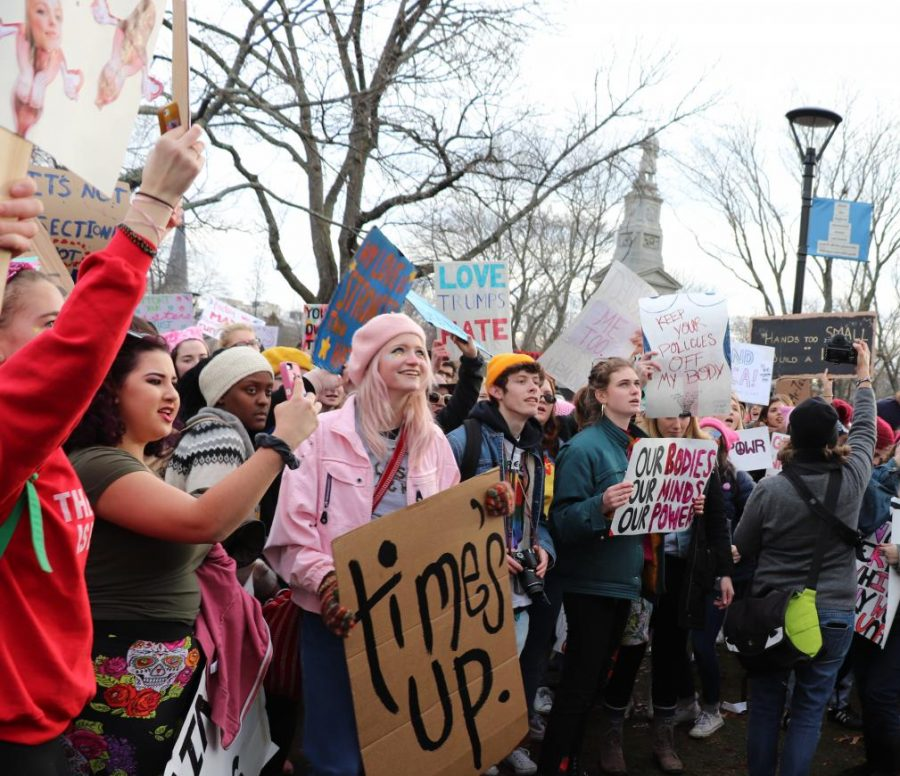 Pictured: The 2018 Women's March in Cambridge.