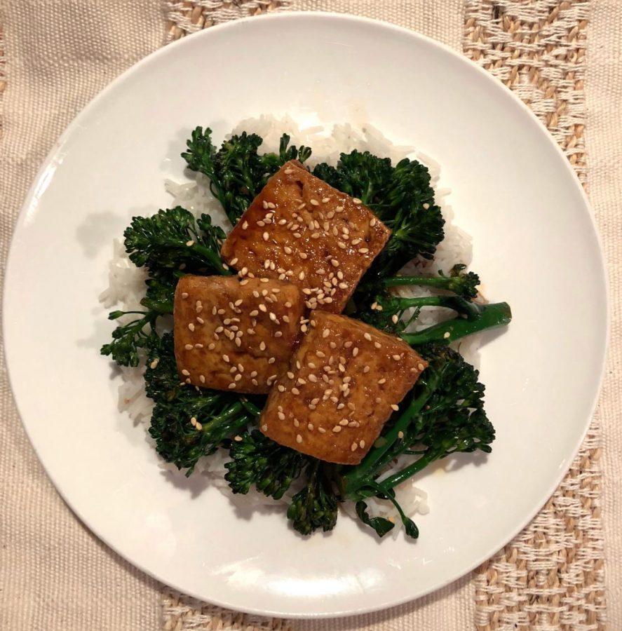 (Actually) Crispy Pan Fried Tofu with Honey-Soy Glaze and Broccoli
