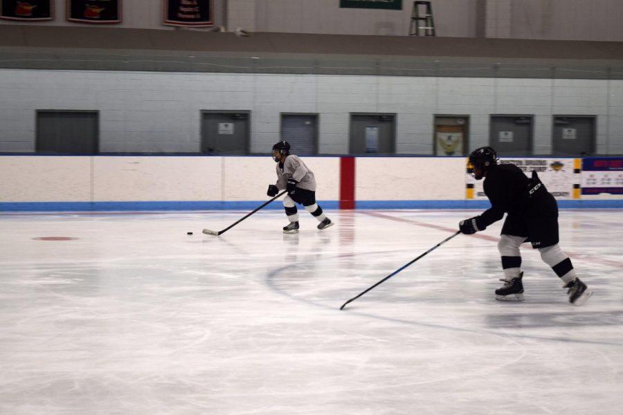 Pictured: CRLS girls hockey practicing hard at Simoni Ice Rink in Cambridge.