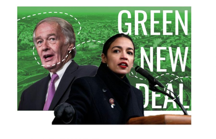Senators+Alexandria+Ocasio-Cortez+and+Ed+Markey+advocate+for+the+Green+New+Deal.