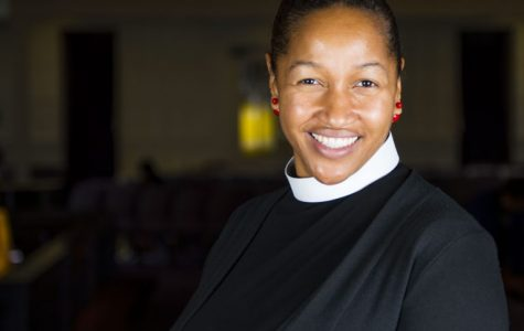 Rev. Mariama White-Hammond spoke at the CRLS Climate Change Initiative assembly.