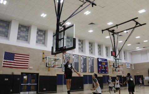 Pictured: CRLS Boys Varsity Basketball team hard at work during practice.