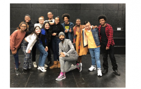 Pictured: CRLS theater students with alum Keith Mascoll (center) in the black box theater.