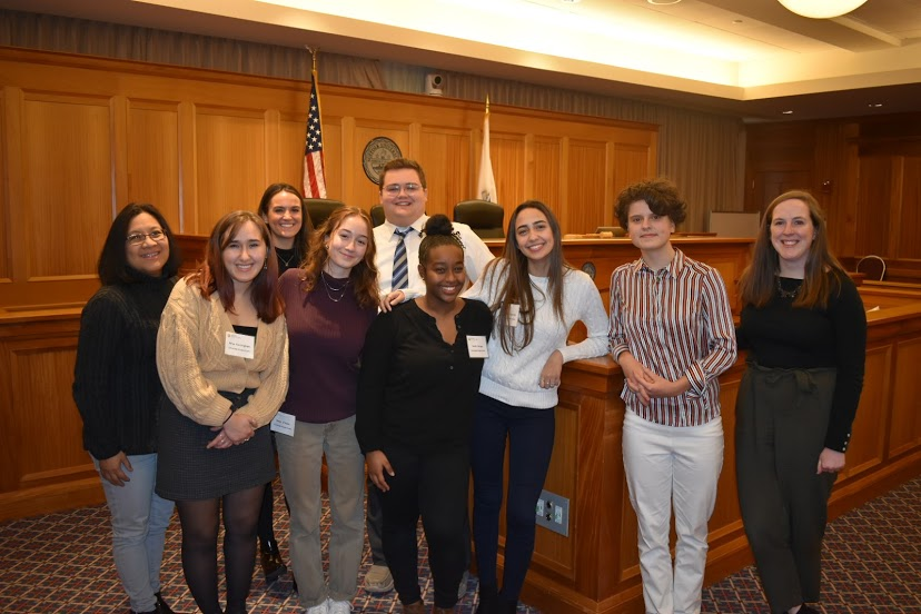 Pictured%3A+Ms.+Cesario+and+the+group+of+CRLS+students+who+attended+the+competition+at+Suffolk+Law+School.+