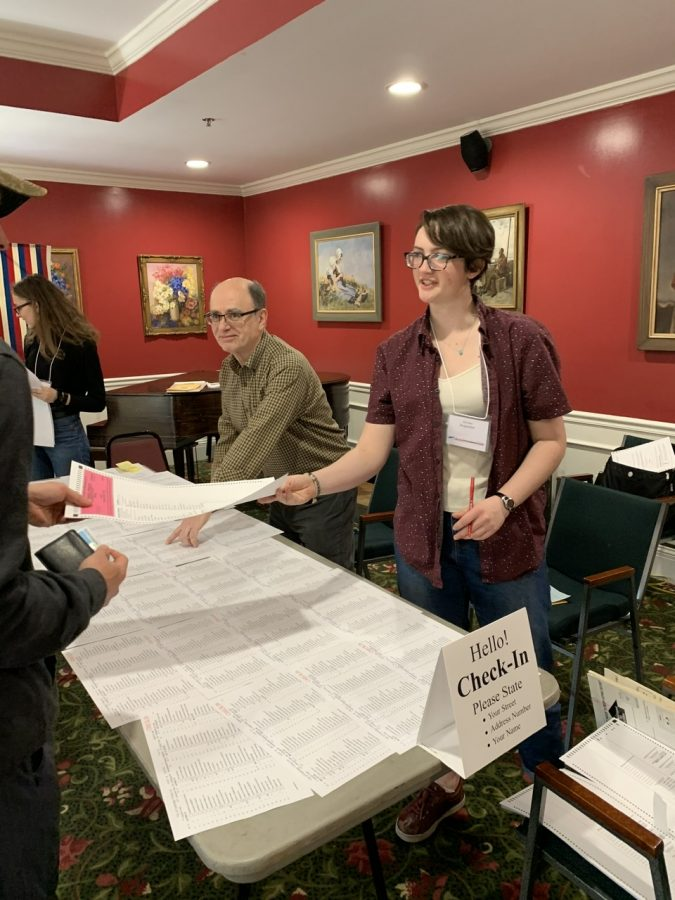 Pictured: Louisa Monahan '20 working at a polling station on Super Tuesday, which was on March 3rd.