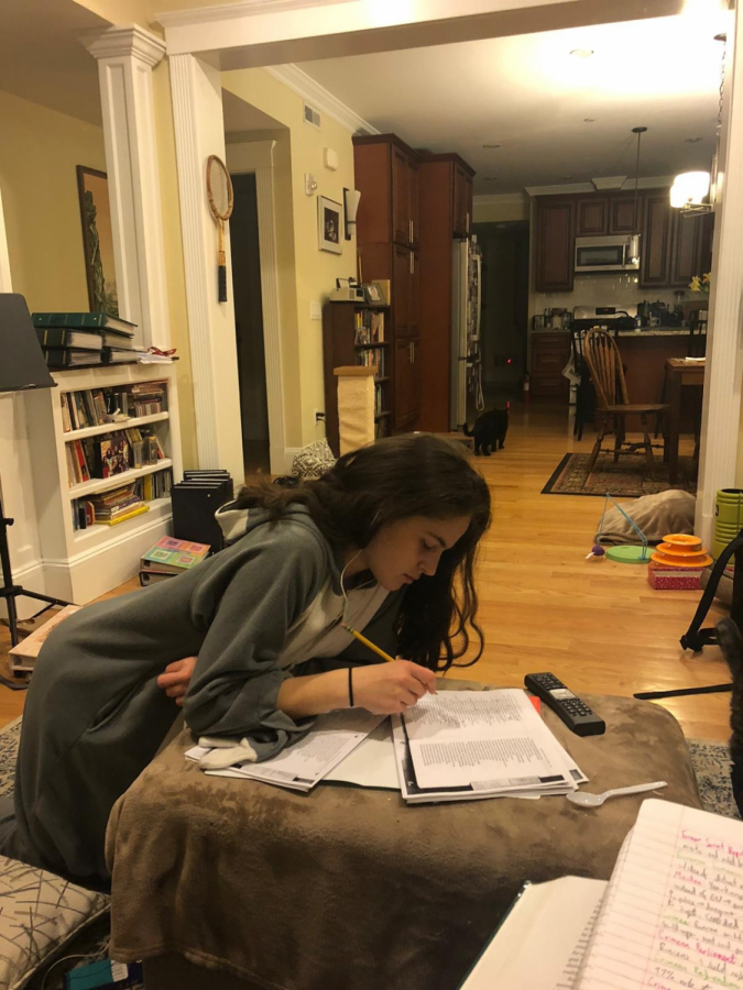 Pictured: Senior Amelia Bronfman doing school work at home.