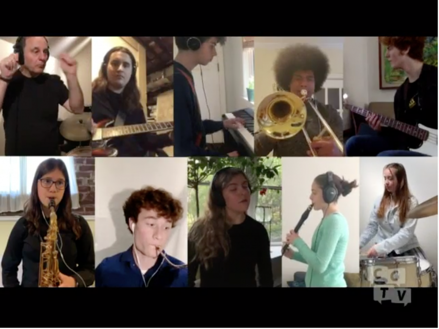The World Jazz Ensemble performing on Zoom