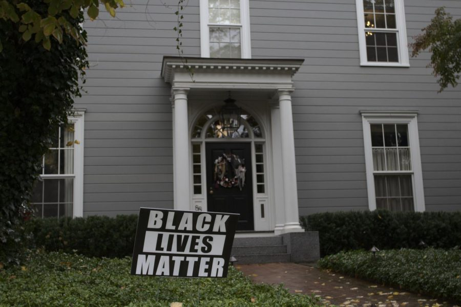 A Black Lives Matter sign outside of a house in Cambridge