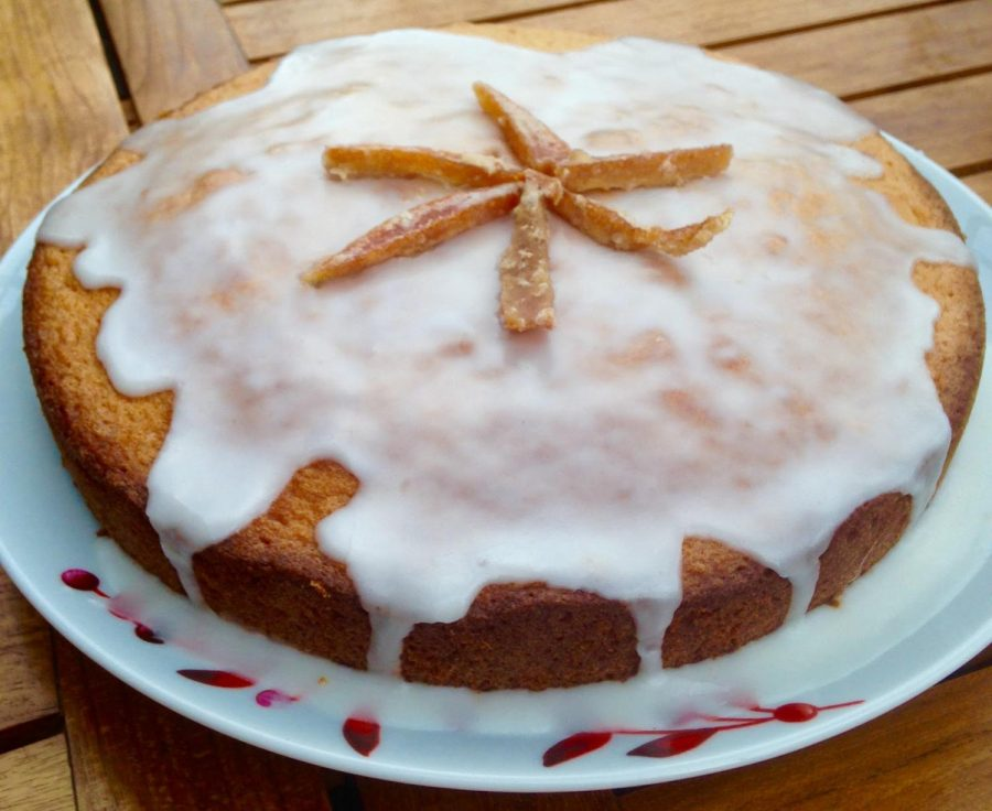 Pictured: Glazed olive oil citrus cake with candied orange peel as garnish. Photo Credit: Rustic Fruit Desserts