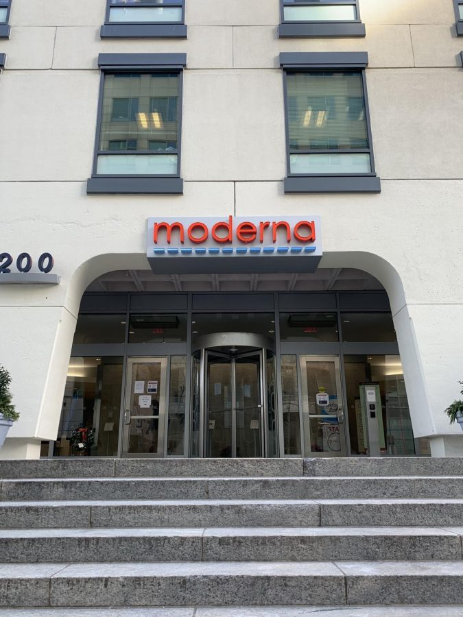 The Moderna headquarters in Cambridge, MA