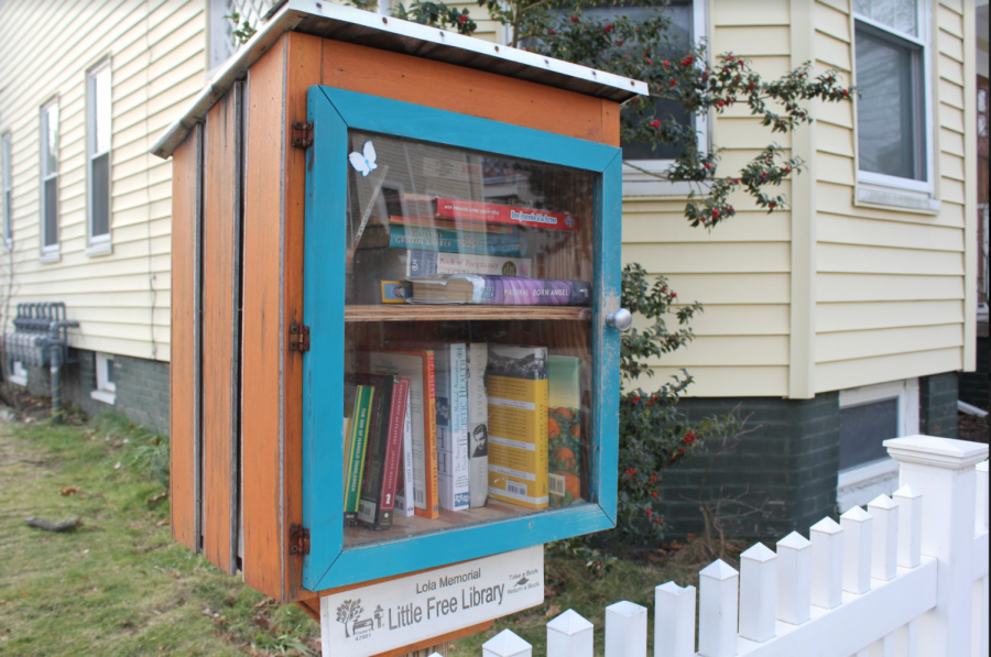 Pictured: A Little Free Library on the streets of Cambridge.