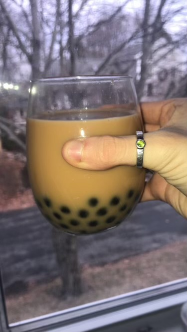Pictured%3A+Homemade+boba+with+black+tea+and+almond+milk.+%0A