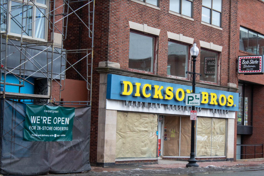 Pictured: Dickinson Bros, former hardware store, on Brattle Street.