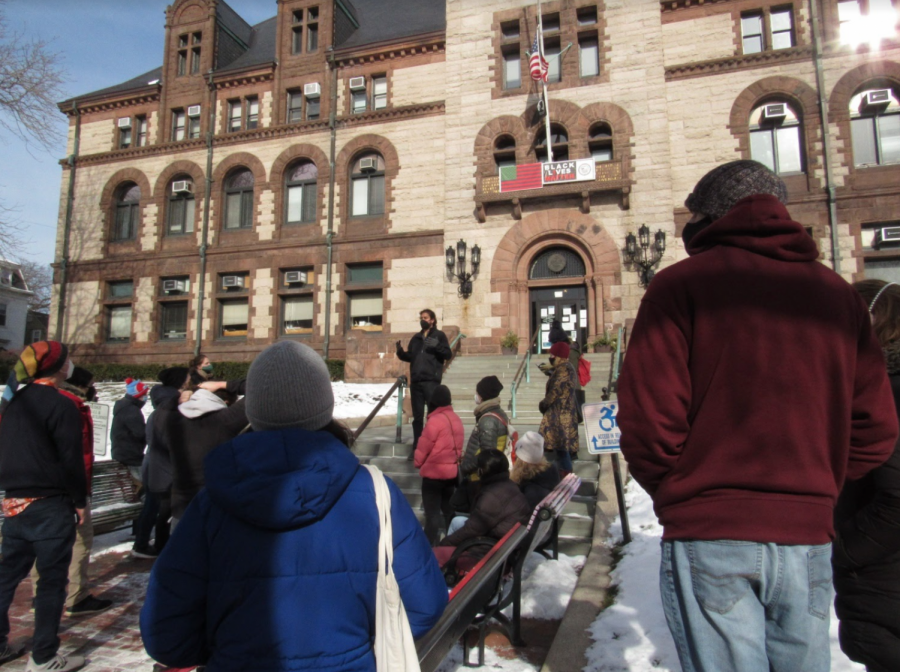 Courtesy of Harvard Crimson: Councillor Jivan Sobrinho-Wheeler speaks at a Project Right to Housing event in Central Square.