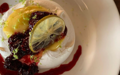 Pavlova with lime curd and blackberry jam