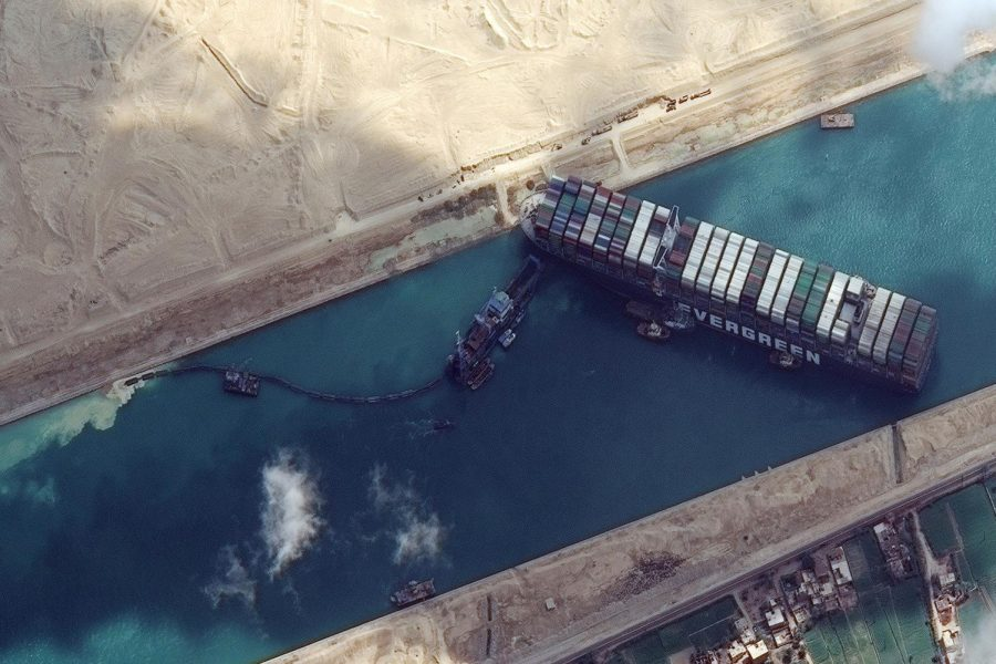 Courtesy of NBC News: The Ever Green ship stuck in the Suez Canal.