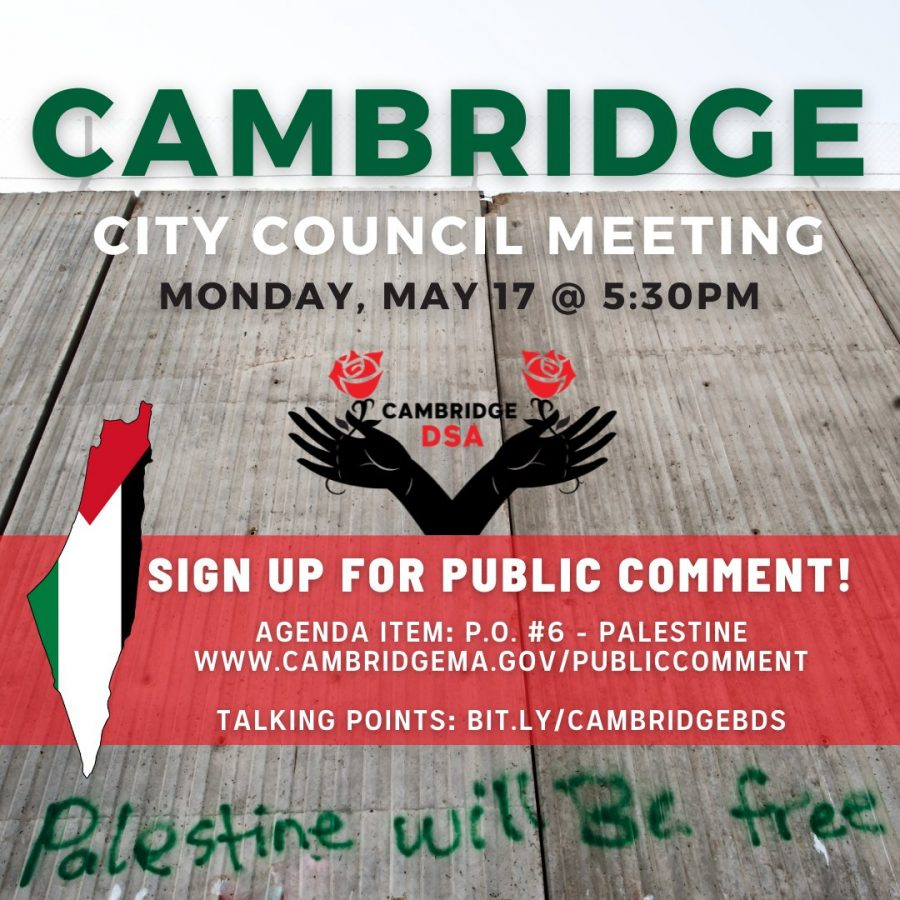 Courtesy of Cambridge Democratic Socialists of America: Twitter post encouraging public comment at May 17th City Council meeting.