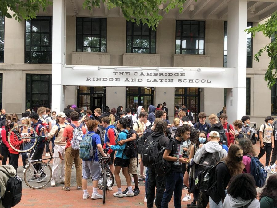 CRLS students congregate outside of the main entrance after school.